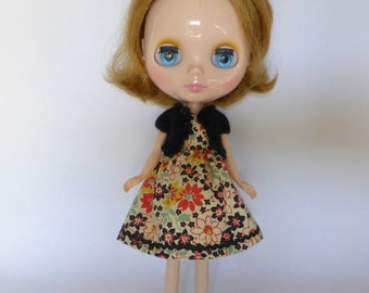 Hand Made Neo Blythe or Bratz Doll Red Black Floral with Ric Rac Trim and Matching Black Knitted Short Sleeve Cardy