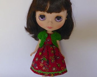 Hand Made Neo Blythe or Bratz Doll Red Navy Floral with Ric Rac Trim and Matching Green Knitted Short Sleeve Cardy