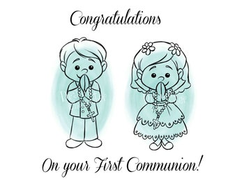 First Communion Girl and Boy Cookie Design with Sentiment, KopyKake Image, Digital Stamp