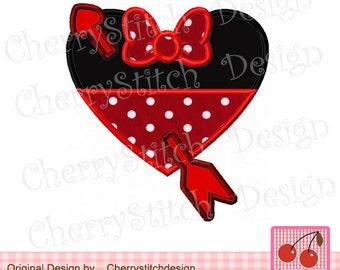 Valentines Day Minnie,Valentine Embroidery Heart Applique -4x4 5x7 6x10-Machine Embroidery Applique Design