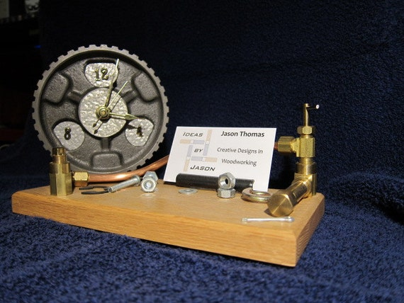 Steampunk clock and business card holder for Steampunk business card holder