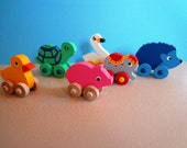 Wooden Animal Toy Collection - Swan-Circus Elephant-Hedgehog-Duckie-Turtle-Piggy - Handmade - Mix and Match - Eco Friendly Kids Toys