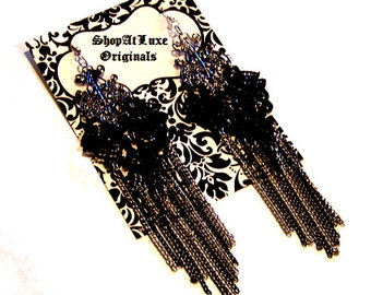 Avant Garde Lace Fringe Earrings