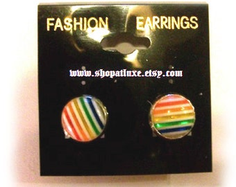 Rainbow Cabochon Post Earrings