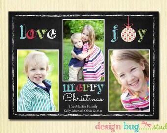 Chalkboard Christmas Card - Love, Joy, Merry Christmas Family Photo Christmas Card - 3 Pictures - Printable Card, Digital File