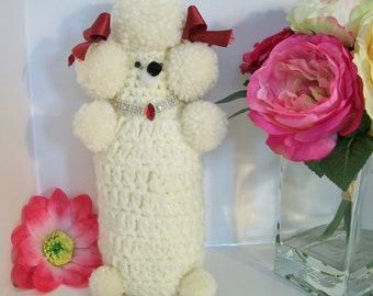 Vintage Crochet White Poodle Yarn Rhinestones