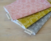 Organic Burp Cloths Set of 3 in Circles - Gray, Pink, and Reed
