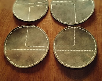 leather coasters, contrast stitching, retro coasters, geometric coasters, leather coaster set