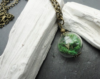 Necklace Glassbottle real moss