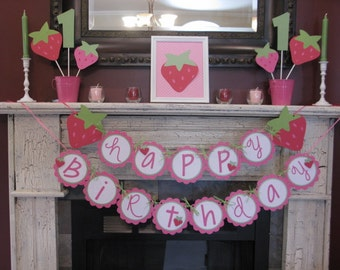 Strawberry Banner - Strawberry Photo Prop - Strawberry Happy Birthday Banner