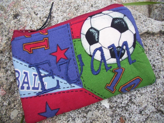 Sports Coin Purse, Personalized Boys Zipper Wallet