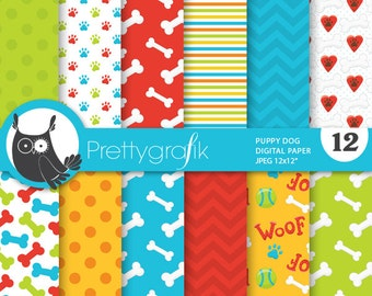 Puppy dog digital papers, commercial use, scrapbook papers, background, bones, paws - PS700