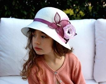 Little Girls Hat with Flower, Childrens Summer Hat, Kids Spring Hat, Girls Tea Party Hat Special Occasion Wedding Hat for Girls