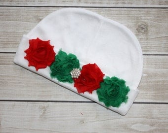 FIRST CHRISTMAS HAT-Christmas-Boutique Style-Newborn Beanie-Newborn Hat-Baby Hospital Hat-Shabby Chic-Newborn-Christmas Hat-Xmas-Baby Beanie