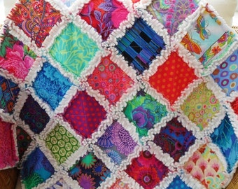 handmade patchwork cot quilt, rag quilt, baby blanket, lap quilt,