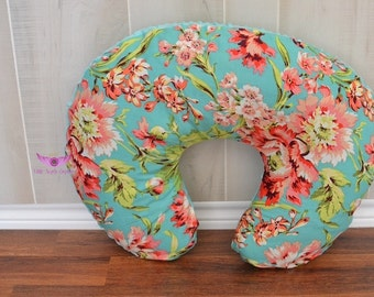 Amy Butler Bliss Bouquet in Teal and Light Pink Minky Boppy Pillow Cover