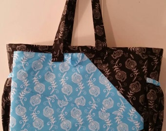 Blue/Black paisley print Diaper Bag