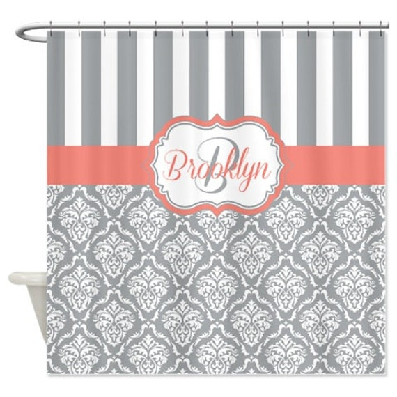 grey and coral shower curtain. Like this item  Damask Shower Curtain Custom Personalized w Monogram Name and