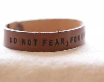Leather Band, Leather Cuff, Leather Custom, Leather stamp, Hand stamped, Leather Bracelet , Scripture bracelet, Do Not Fear, Faith bracelet