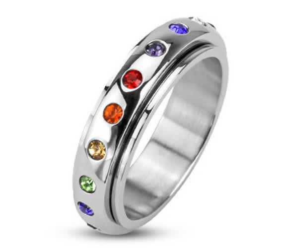 Stainless Steel Ring With Multi Color Spinning Band