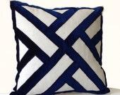 Ivory Linen Navy Blue Velvet Applique Pillow Cover -Geometric Pattern Pillows -Contemporary Decor -All sizes -Decorative Throw Pillows -Gift