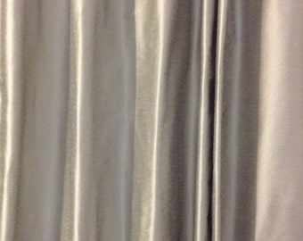 grommet curtain panel multiple sizes gray dupioni faux silk grey medium weight faux silk drapes - Silk Drapes