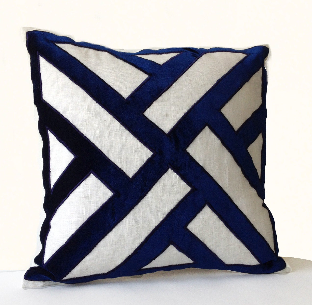 ivory linen navy blue velvet applique pillow cover geometric - 🔎zoom