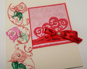Handmade 2 Hearts of Love Valentine's Day Greeting Card