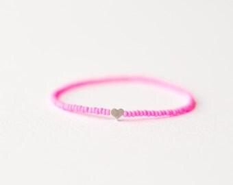 Neon pink bracelet with heart - friendship bracelet