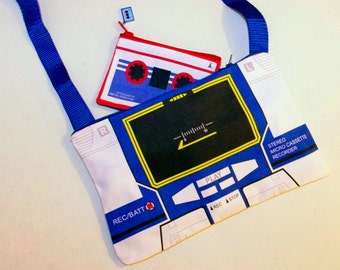 80's SOUNDWAVE Transformers sling bag with zipper closure, Decepticon shoulder tote