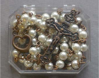 Copper Catholic  - 6mm White Pearl Glass Rosary
