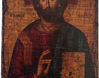 Jesus Christ - Pantocrator - Orthodox Byzantine icon on wood handmade (26.5cm x 17.5cm)