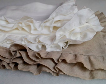 Linen pillow cases - linen bedding, ruffled pillow cases, linen shams