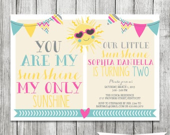 Little Girl's You Are My Sunshine Birthday Invite - 5x7 JPG