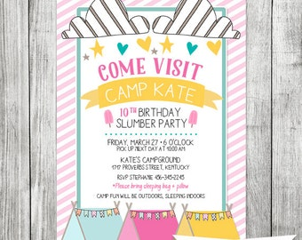 Glamping Tent Birthday Party Invite - Slumber Party Camp Out Invite - 5x7 JPG