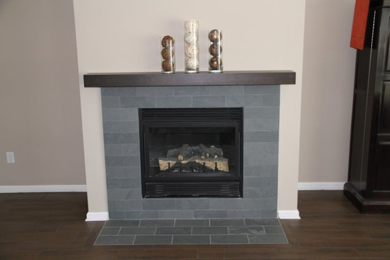 Espresso cherry modern beam mantel cherry mantel - Fireplace mantel designs in simple and sophisticated style ...