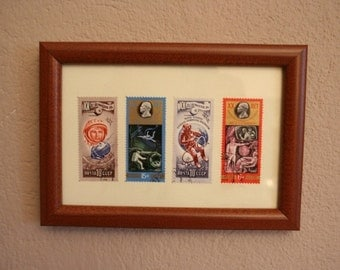 50% DISCOUNT.Sale.Sale.Framed postal stamps. Collection of 4 stamps from USSR. 1977 - 1980 years.Sale.Sale.