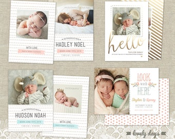 Birth Announcements Boy Girl Templates Set of 4 INSTANT DOWNLOAD