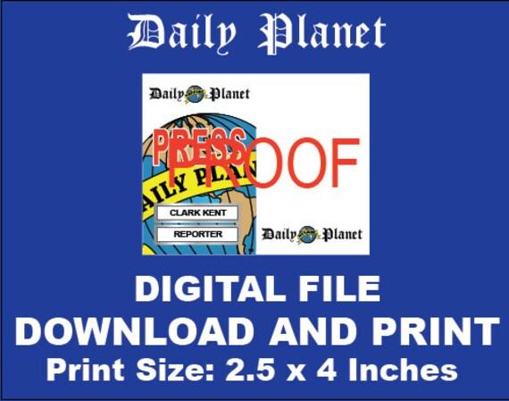 Daily Planet Clark Kent Reporter Id Press Pass Id
