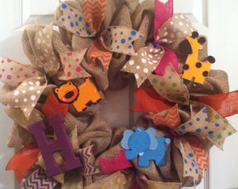 Burlap Wreath/ Kid's wreath/ Baby Wreath/ Safari wreath/ Nursery Wreath