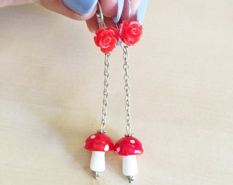 30% OFF: Mushroom Dangle Earrings - Red & White Lampwork Beads, Cherry Roses, Cabochons, Leverback, Silver Chain, Toadstool, Shrooms