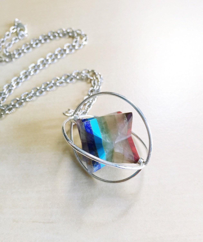 merkaba chakra necklace spinning pendant reiki flower of