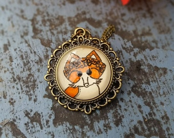 Fox Necklace Animal Art Floral Design Henna Mehndi Vintage Style Hand Drawn Handmade Jewelry Adaptability Guidance Symbolism