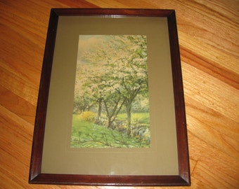 "ANTIQUE CHERRY BLOSSOM Print In Antique Wood Frame 11"" x 15"" Tiny Bubbles In Glass"
