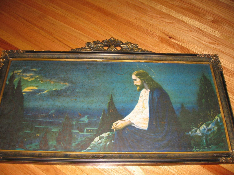 jesus praying   garden  original frame picture
