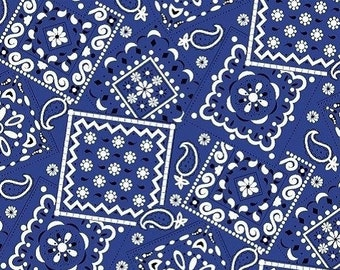 Navy Bandana Fabric --- 100% Cotton Fabric --- Fabric By The Yard