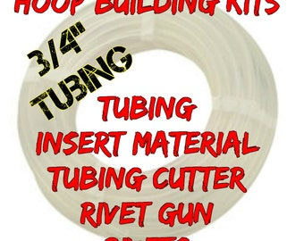 "Hoop Building Kit 100 ft  roll of 3/4"" HDPE hula hoop tubing - Comes with Tubing Cutter and Rivet Gun"