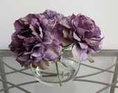 Purple Peony Flower Arrangement in Round Glass Vase with Faux Water, Light Purple Flowers, Lavendar Purple, Peonies, Home Decor