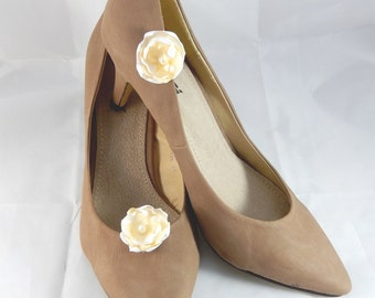 WEDDING white and ivory satin flower shoe clips