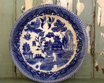 very old transferware bowl - blue white transferware